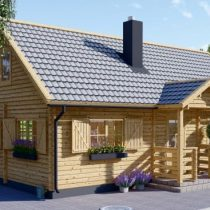 Chalet en bois de 92 m2 en double madriers massifs de 44 mm