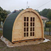 Pod de 9 m2 en madrier de 28 mm avec couverture en tuiles  bitumées