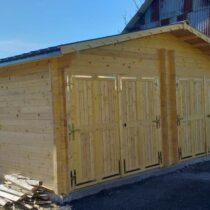 Garage Double 0-09 en bois de 42m² en madriers massifs de 42mm