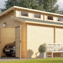 Garage en bois de 24m² pour une voiture à toit plat en madriers massifs de 44mm