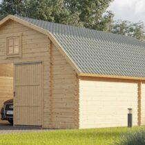 Garage en bois esthétique pour une voiture de 30 m² en madriers massifs de 44mm
