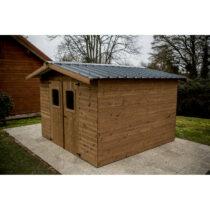Abri 40 en bois THT de 5m² en madriers de 19mm avec sa couverture en plaques ondulées