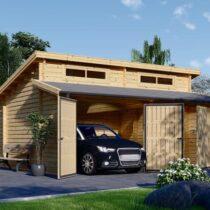 Garage en bois à toit plat pour deux voiture de 36m² en madriers massifs de 44mm