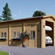 Garage en bois de camping car de 32 m² en madriers de 44mm avec sa couverture bitumée