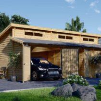 Garage en bois+ un atelier de 11m² pour deux voitures de 48m² en madriers massifs de 44mm