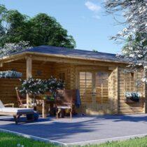 Abri /Chalet en bois de jardin de 22m² avec sa terrasse couverte en madrier de 28 mm