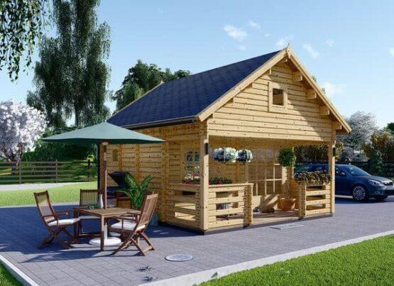 Chalet à étage en bois de 20m²+ sa terrasse en 44mm