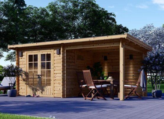 Abri/Chalet en bois de jardin de 14m² avec sa pergola en madriers massifs de 28 mm