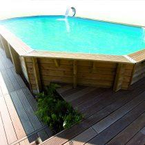 Piscine en bois octogonale de 4,70 x 8,60 x 1,30 m