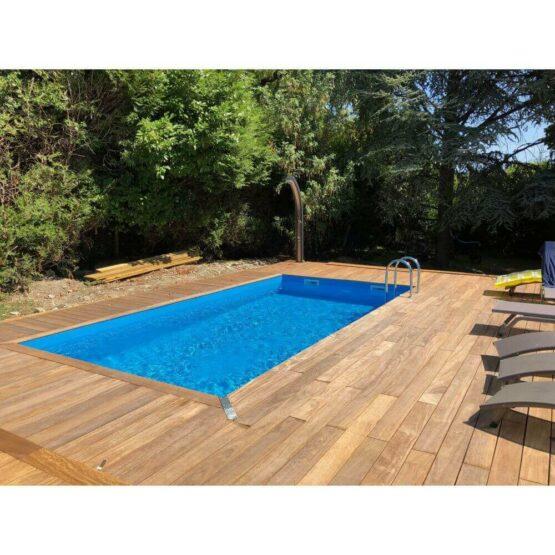 Piscine 41 en bois rectangulaire de 350 x 650 x H 140 cm liner bleu