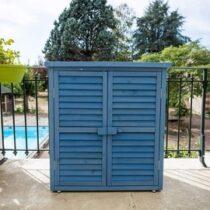 Armoire de jardin  bleue de 0.40 m2 toit mono-pente 3 étages