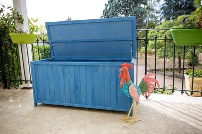 Coffre de rangement pour jardin de 0,29 m3 lasuré couleur bleue de 127 x 55 x H 60 cm