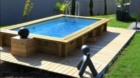 Piscine 11 en bois rectangulaire d'enfant de 3,50 x 2,00m / Disponible début 2022