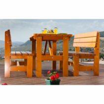 Table de jardin avec 2 bancs en sapin