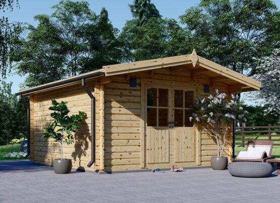 Abri/Chalet en bois de 16m² en madriers massifs de 34 mm