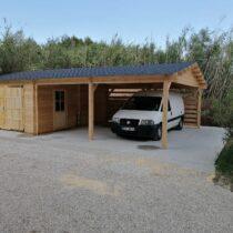 Garage en bois pour une voiture de 24m² + carport pour deux voitures de 33m²