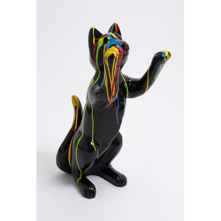 Statue chat joueur design trash noir 55 cm