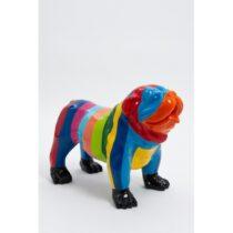 Statue chien bouledogue anglais debout taille S design multicolore