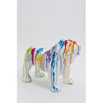 Statue chien bouledogue anglais debout taille S design trash blanc