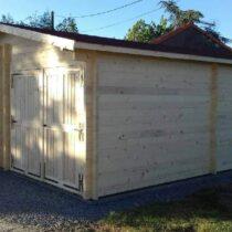 Garage Double 0-13 en bois de 42m² en madriers massifs de 60mm