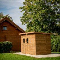 Abri 48 à toit plat en panneaux de 19 mm de 7.33m²/5.2 m²+ couverture en plaques ondulées traité en THT (traitement haute température)