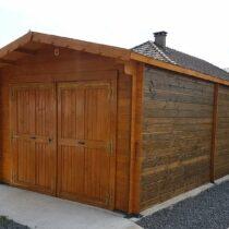 Garage 0-10 en bois de 24m² en madriers massifs de 42mm
