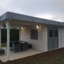 Abri 9-145/Chalet en bois de 25m² avec son auvent à toit plat