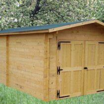 Garage 8 en bois de 24m² en madriers massifs de 42mm avec sa couverture toiture en feutre bitumé