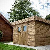 Abri de jardin bois Epicéa THT 11.52m²/8.76m² Ep19mm avec sa couverture toiture fabriquer en france