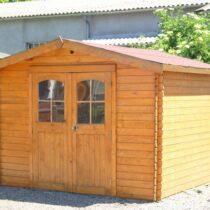 Abri de jardin en bois en madriers de 28 mm de 10m²