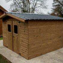 Abri de jardin bois en THT  de 4.87 m² avec couverture bitumée ondulée fabriqué en France