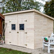 Abri 31 de Jardin toit monopente en panneaux de 16mm de 6,6 m²avec sa couverture en plaques ondulées