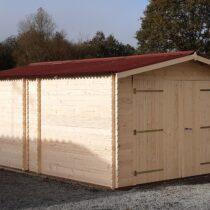 Garage 7 en bois de 20m² en madriers de 28 mm