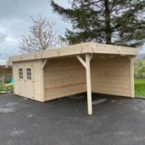 Abri 82 de jardin bois à toit plat de 20m² avec sa terrasse couverte