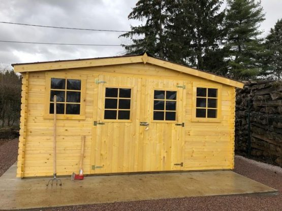 Abri 9-130/ Chalet de jardin en bois massif de 20m² + Couverture toiture en plaques ondulées