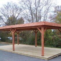 Auvent/Pergola de 24m² en bois avec la couverture bac acier