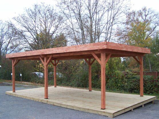 Pergola 9-20 de 24m² en bois avec la couverture bac acier