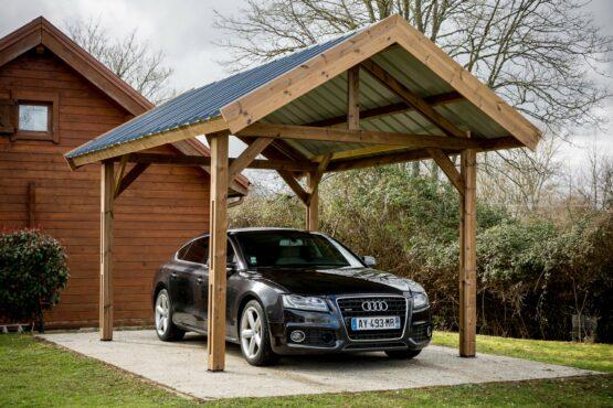 Carport 9-27 en  bois THT pour 1 voiture de 10.8 m² avec la couverture en bac acier