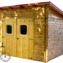 Abri 67 en bois Douglas avec son toit multidirectionnel de 9.86m²/7.84m² avec sa couverture en feutre bitumé
