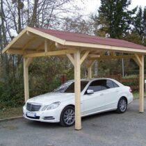 Carport 9-29 en bois double pente avec sa couverture en  bardeaux bitumés de 10.85m²