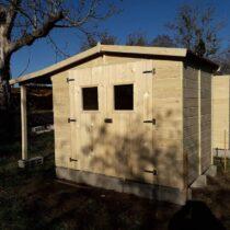 Abri 13 de 6.91m² en panneaux de 16 mm avec plancher et bûcher