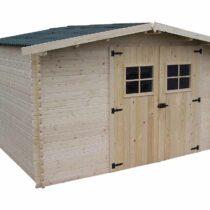 Abri 63 de 10.34m²/8.70m² en madriers massifs 28 mm avec sa couverture en plaques ondulées