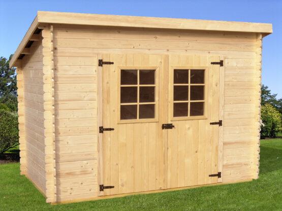 Abri 35 toit monopente de 5.22m² en  madriers massifs 20 mm avec sa couverture /Sans plancher