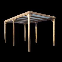 Carport 9-9 en bois thermo traité 3×5,02m / Toit Plat/Couverture transparente
