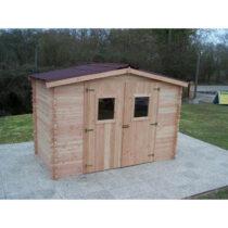 Abri 65 en bois Douglas en madriers de 28mm de 9m²/7.86m² en plaques ondulées