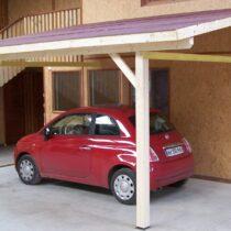 Carport en bois pour 1 voiture avec sa couverture toiture