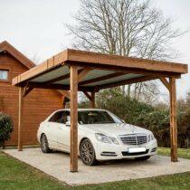 Carport 9-10 bois en THT à toit plat de 17.54m² couverture toiture en bac acier