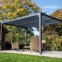 Pergola 9-63 de 10m² bioclimatique structure ALUMINIUM ouverture manuelle avec Visserie en inox