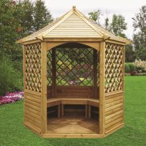 Pavillon 9-12 hexagonal avec sa toiture bois de 7.30m²