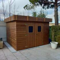 Abri 46 à toit plat en bois THT de 11.97m²/8.76 m² en madriers de 19mm + couverture en bac acier